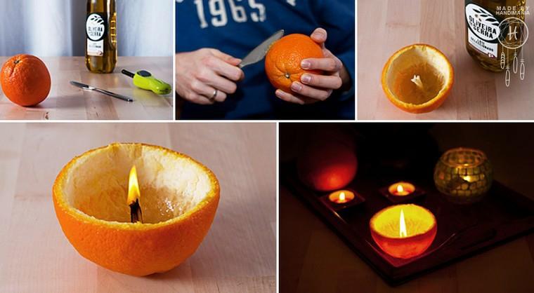buccia di arancia trasformata in candela versare olio extravergine oliva