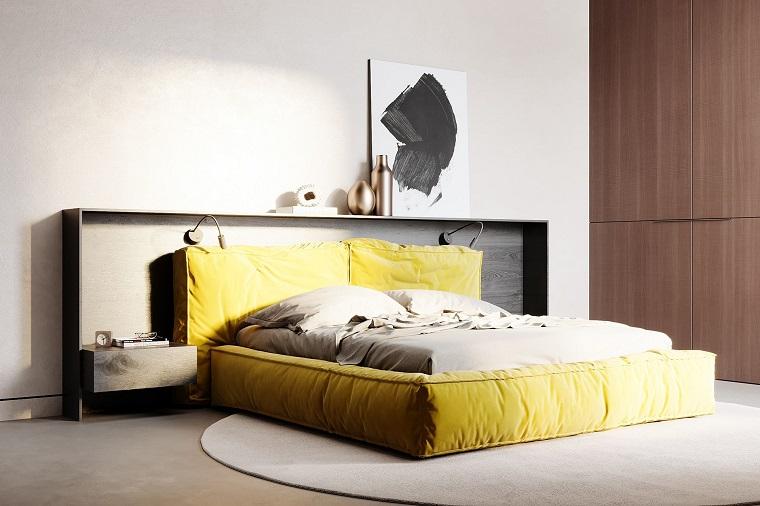 camera da letto con mobili in giallo e grigio ral significato tappeto grande rotondo