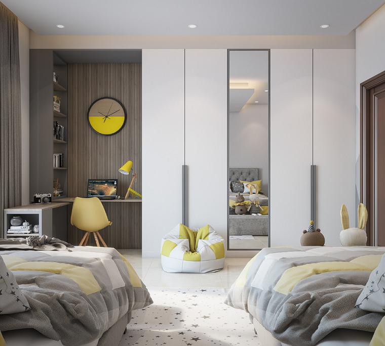 camerata con mobilia grigia accessori in giallo colori pantone 2021