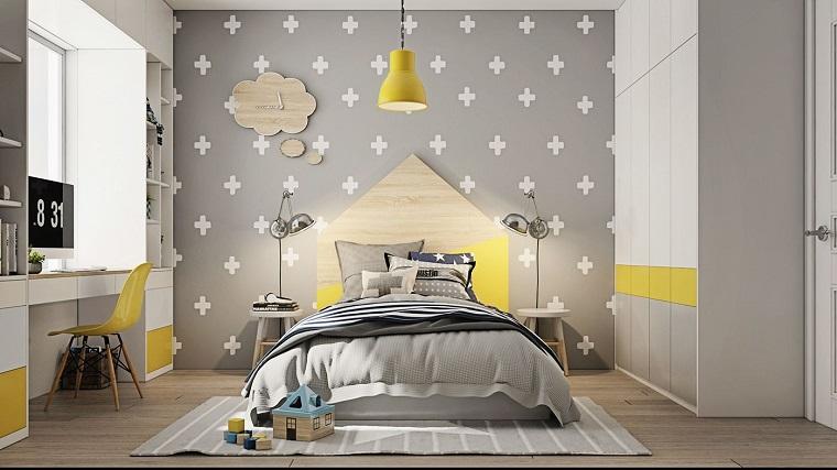 cameretta con decorazioni sulle pareti colori pantone 2021 giallo grigio