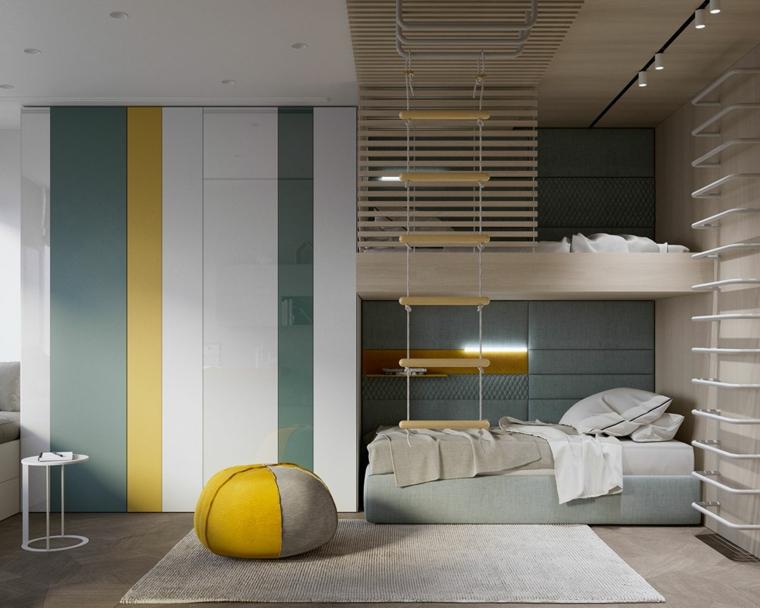 cameretta con letto a castello design tonalità pantone giallo e grigio