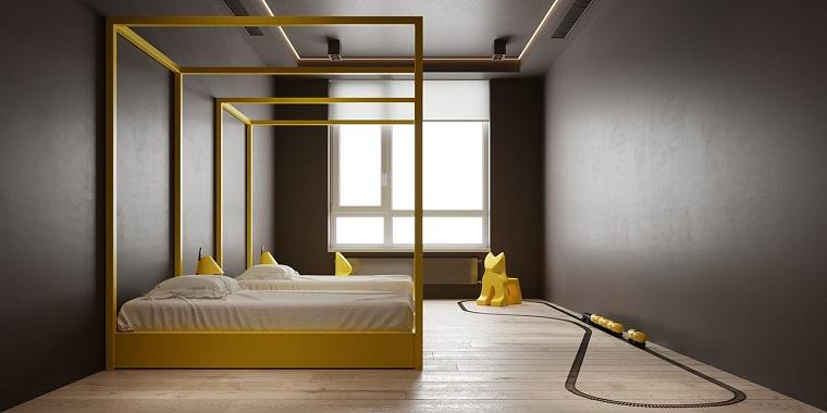 cameretta con pareti grigie palette colori pantone pavimento in legno parquet