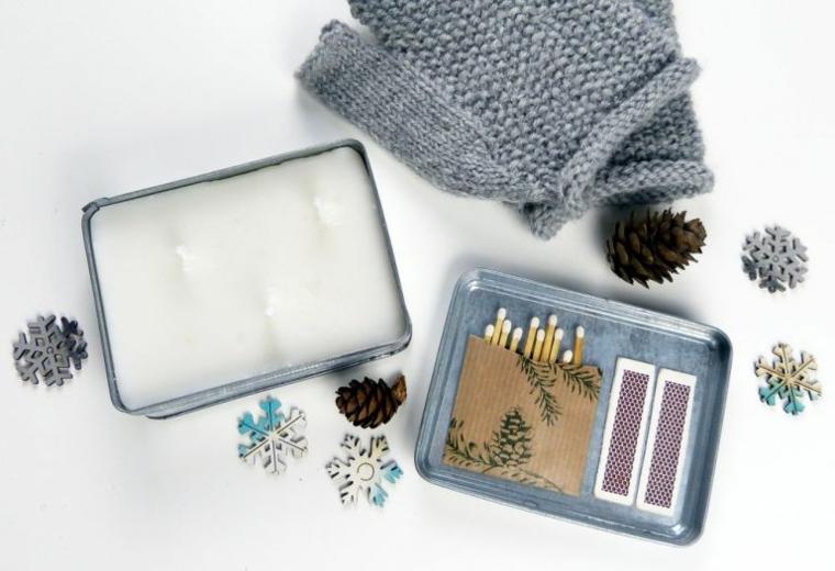 candele fai da te scatola di metallo con cera decorazione coperchio con scatola di fiammiferi