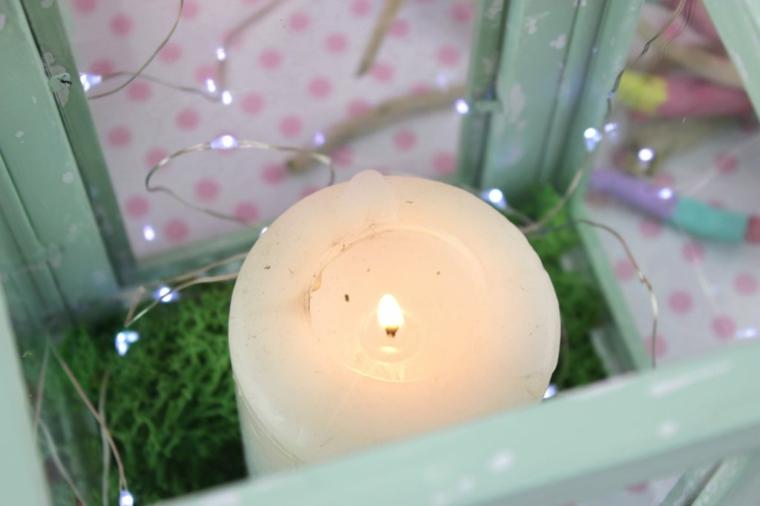 candele fatte in casa portacandela di legno con filo luminoso all interno