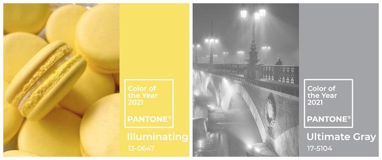 colori pantone 2021 giallo illuminating grigio ultimate gray palette nuance