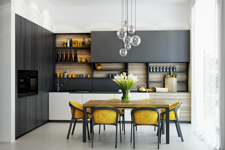cucina e sala da pranzo insieme sedie di colore giallo mobili grigio pantone