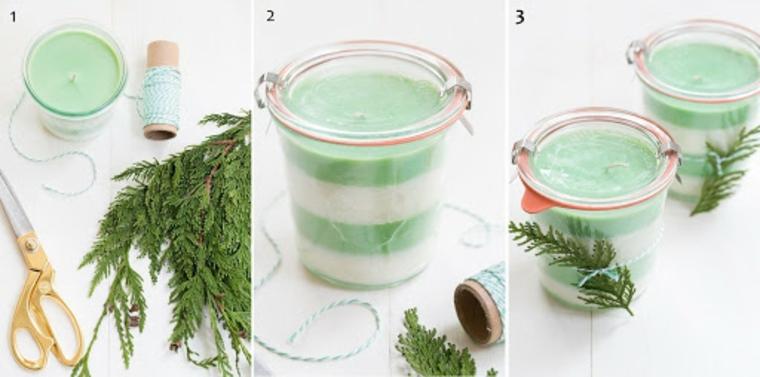 decorazione candela natalizia con rametti verdi candele fatte in casa profumate e colorate
