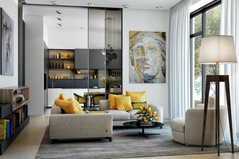 divano in tessuto angolare con cuscini gialli cucina con porta di vetro