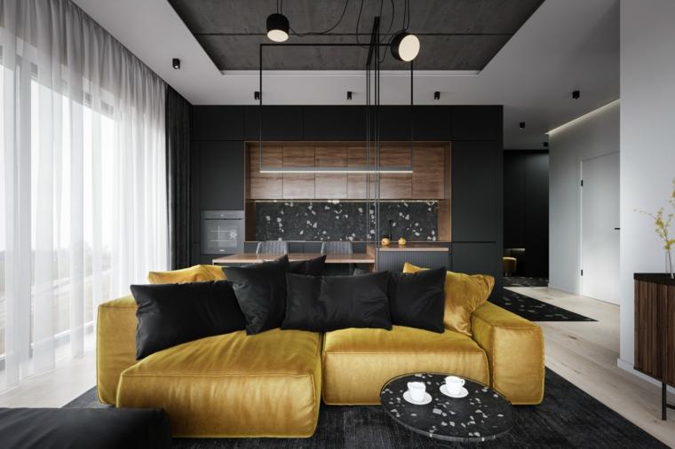 grigio giallo pantone soggiorno con divano in tessuto cucina e sala da pranzo insieme