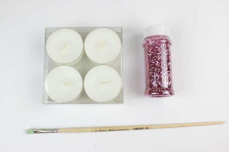 materile necessario per decorare le candele come fare una candela con glitter