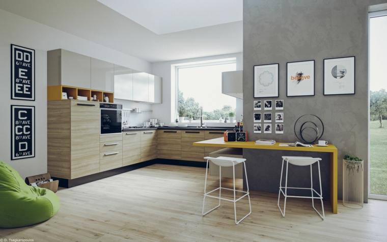 mazzetta colori pantone cucina angolare con top grigio pavimento in legno tavolo giallo pantone