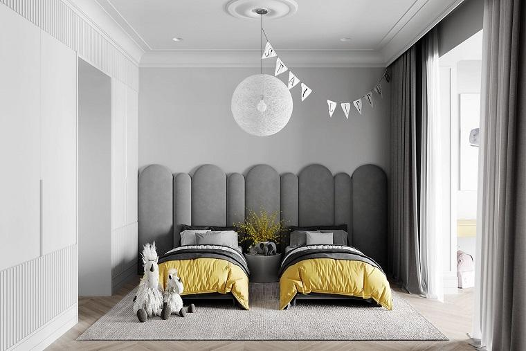 palette colori pantone cameretta con tappizzeria colore grigio