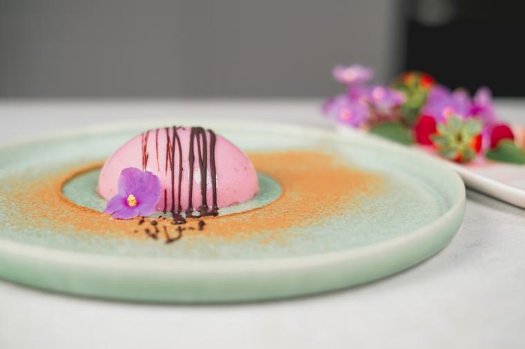 panna cotta ai lamponi decorata con fiorellino e cioccolato