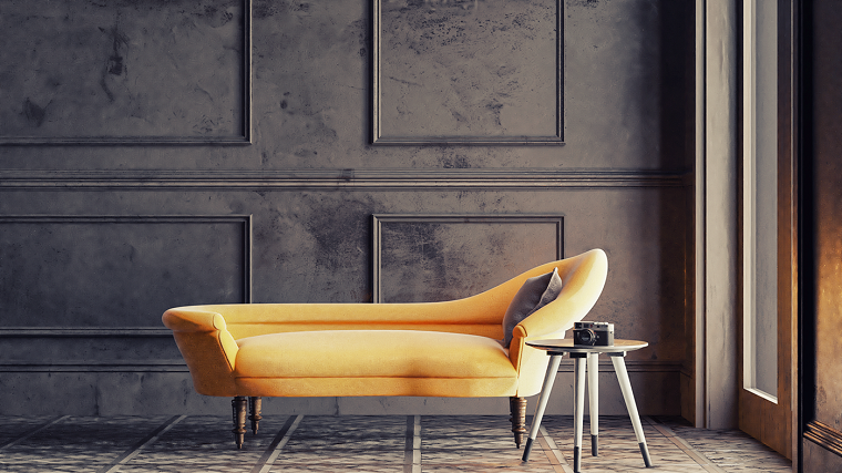 pantone grigio parete dipinta divano chaise longue con tavolino accanto