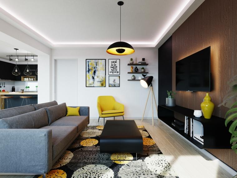 pantone tonalità giallo e grigio arredamento soggiorno divano in tessuto