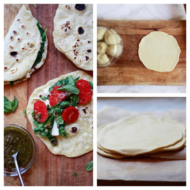 ricetta piadina con olio pesto genovese tutorial per stendere impasto per pizza