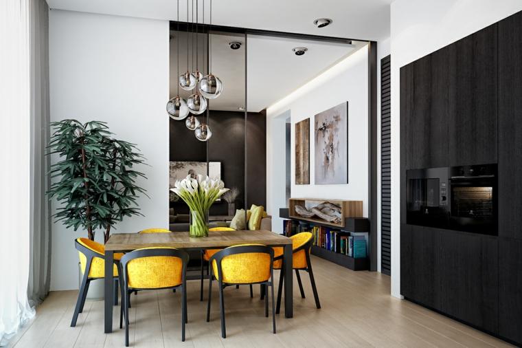 sala da pranzo con sedie gialle open space zona living pantone giallo