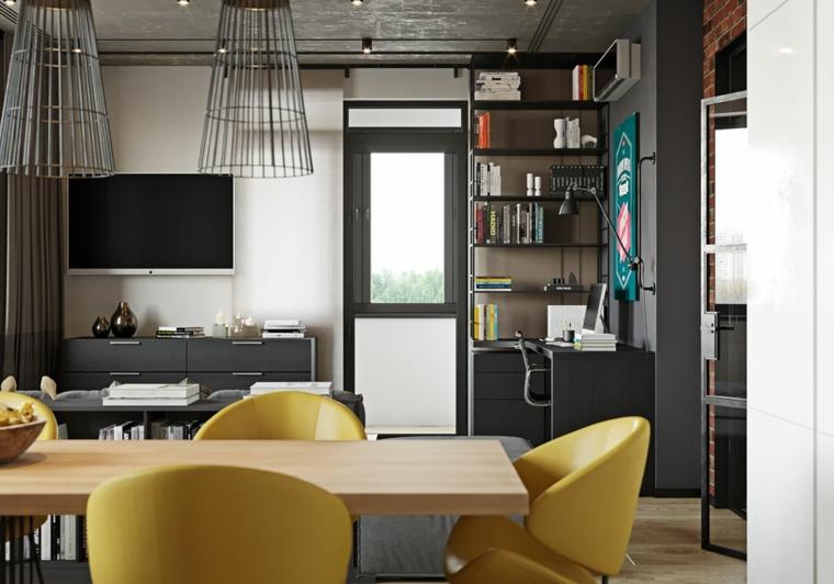 sala da pranzo in stile industriale tavolo con sedie gialle cartella colori pantone