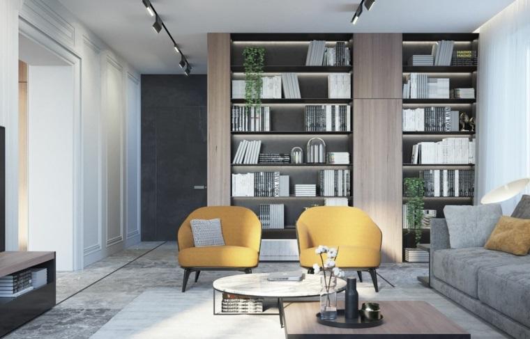 soggiorno con divano in tessuto decorazione con giallo tonalità pantone anno 2021