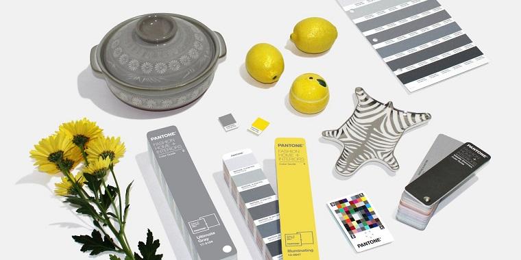 tabella colori pantone accessori casa nella tonalità di colore giallo e grigio