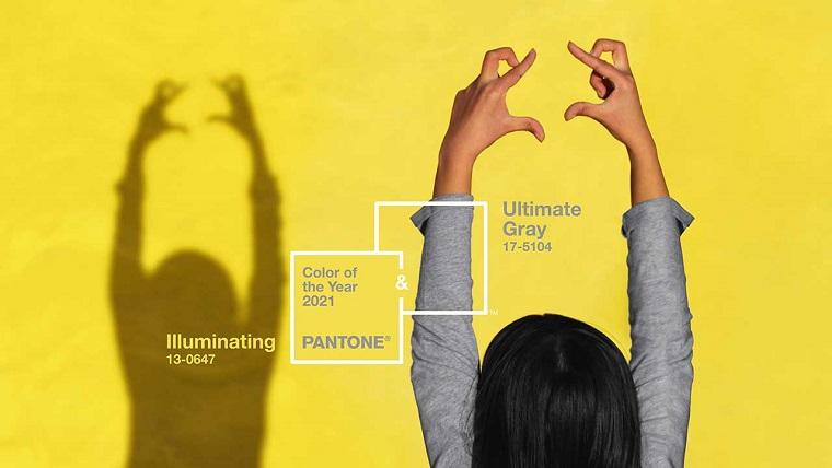 tonalità dell anno 2021 cartella colori pantone giallo luminoso e grigio