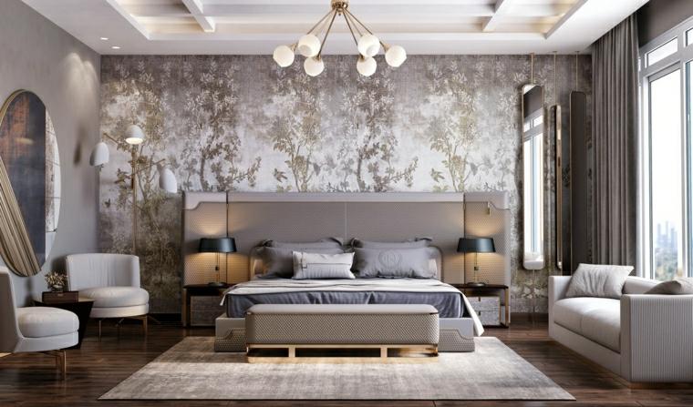 abbinamento colori grigio carta da parati camera da letto con divano beige