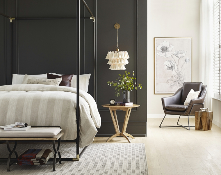 abbinamento colori pareti camera da letto bianco e nero decorazione con fiori