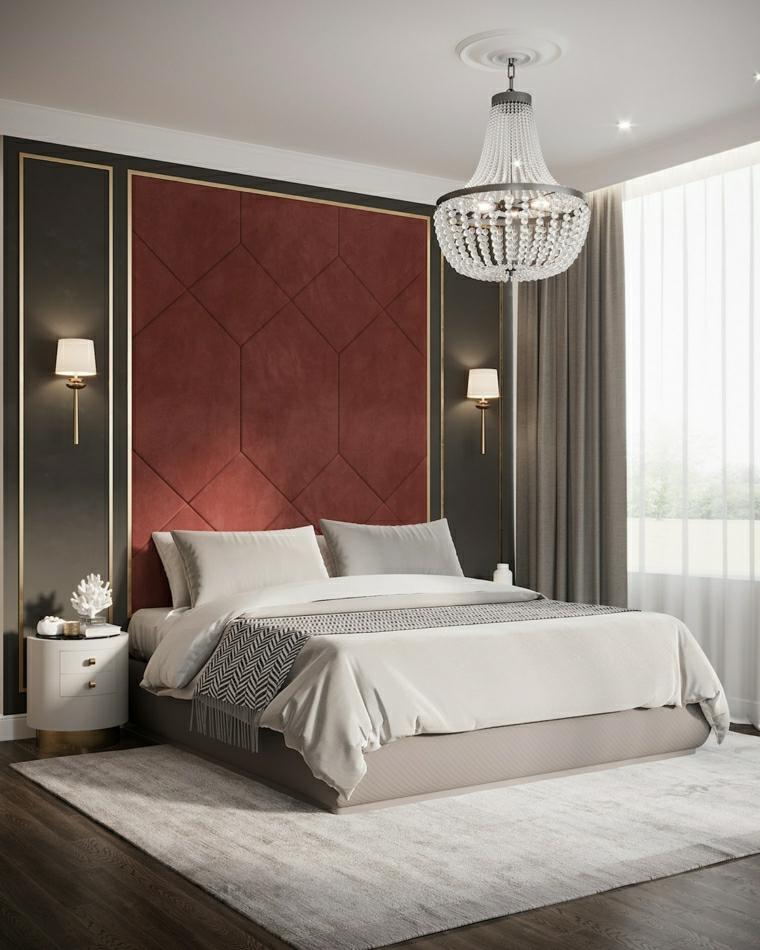 abbinamento colori pareti camera da letto pannello di colore prugna