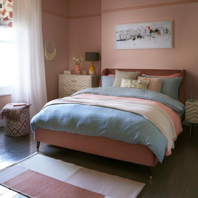 abbinare colori pareti e mobili pittura rosa in abbinamento pavimento scuro