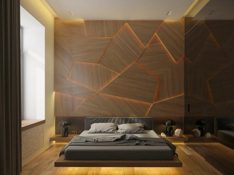 boiserie camera da letto pannello in legno con forme geometriche illuminate