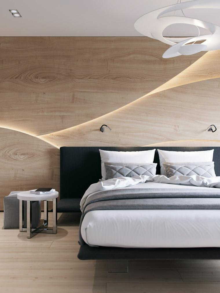 boiserie dietro letto testata con comodino decorazione parete con pannello retroilluminato