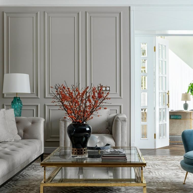 boiserie moderne eleganza in casa salotto con divano bianco e tavolino in vetro