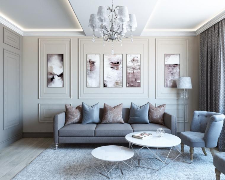 boiserie moderne eleganza in casa salotto con divano tre posti grigio