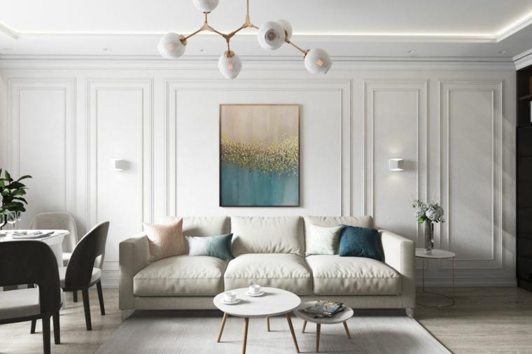 boiserie moderne soggiorno e sala da pranzo insieme divano tre posti di colore tortora