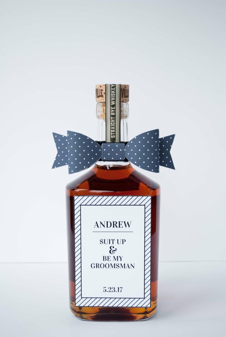 bottiglia di scotch con etichetta personalizzata decorazione bottiglia con fiocco di carta