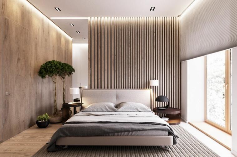 camera da letto con albero da interno verde parete rivestita in legno con luci