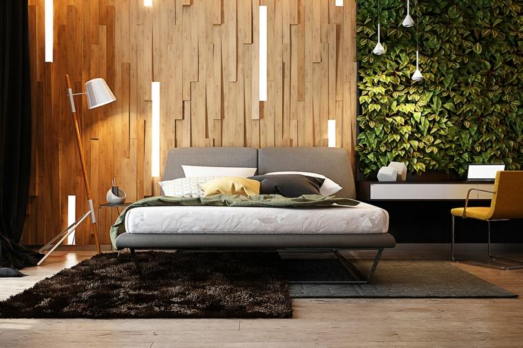 camera da letto con pannello in legno illuminazione led boiserie dietro letto