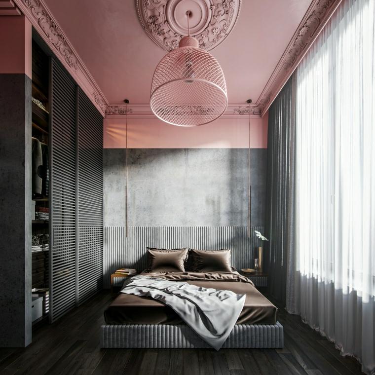 camera da letto in grigio e rosa armadio a muro con porte scorrevoli