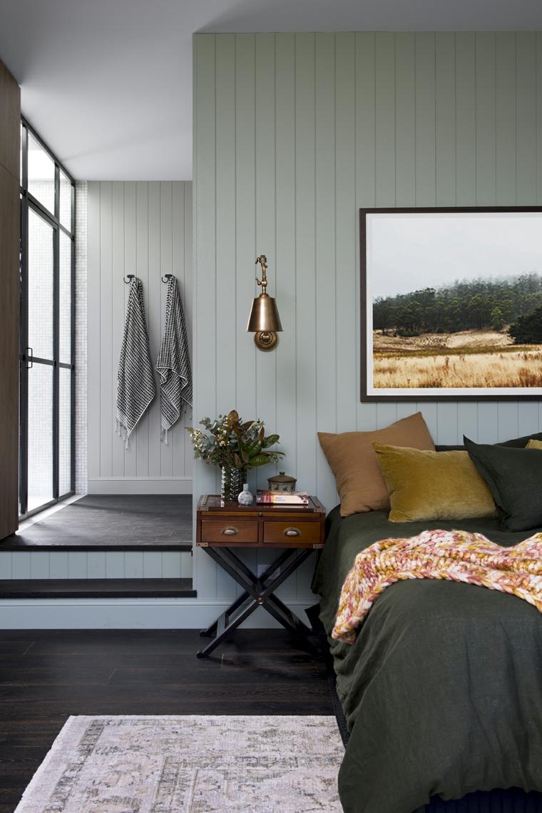 camera da letto stile contemporaneo decorazione cuscini biancheria verde