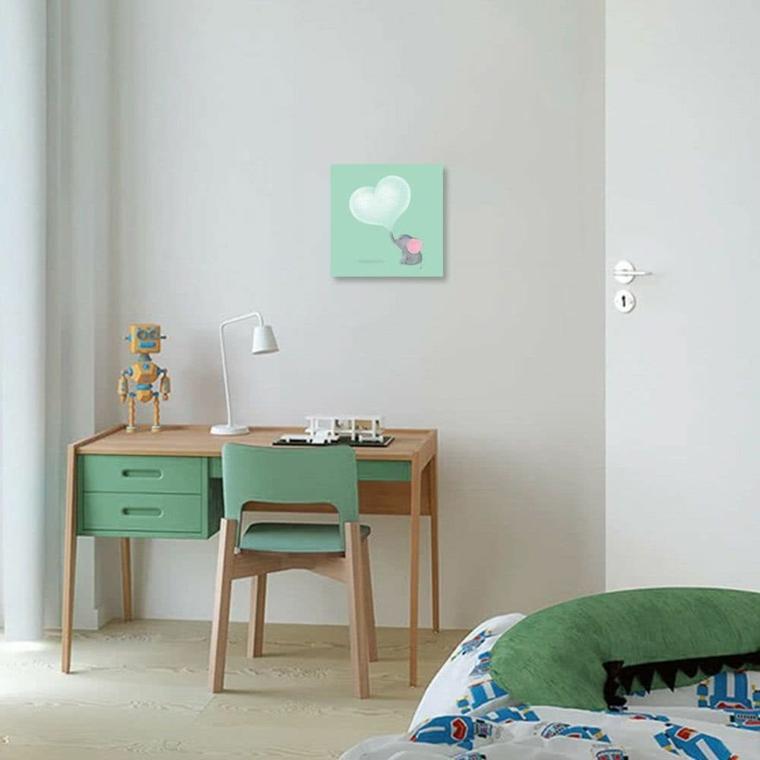 cameretta bambini con mobili di colore verde abbinamento con pareti bianche