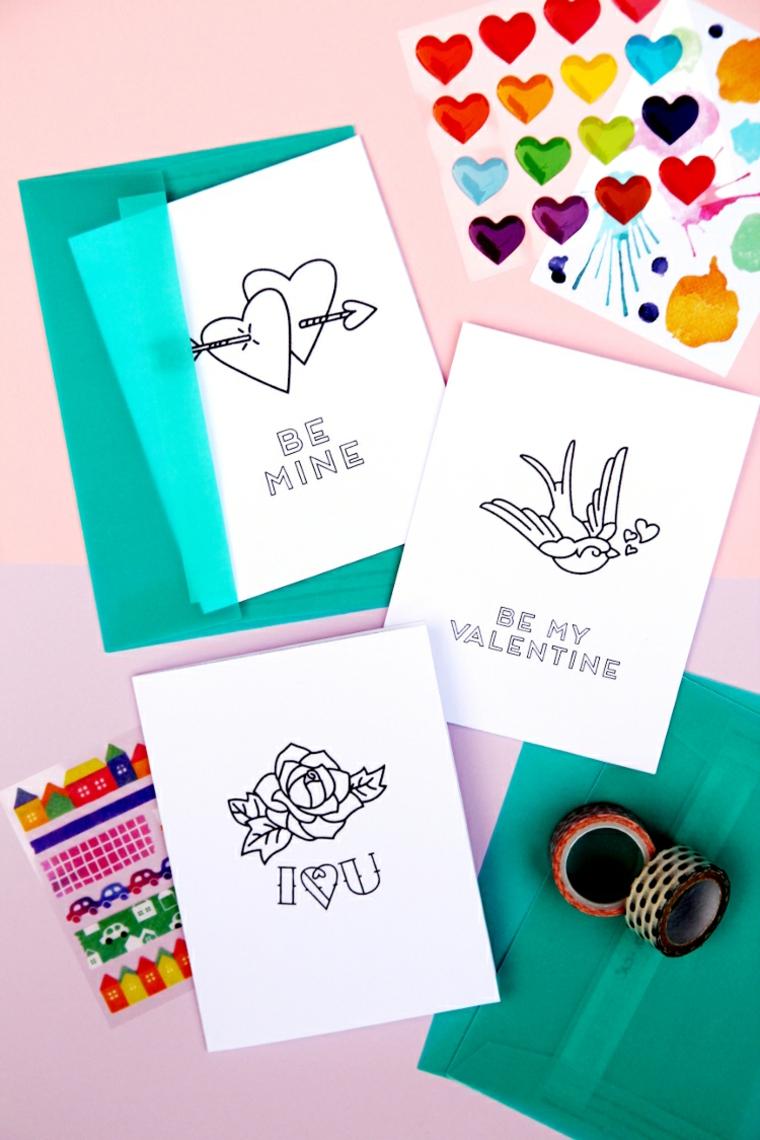cartoline fatte a mano con disegni regali san valentino fai da te