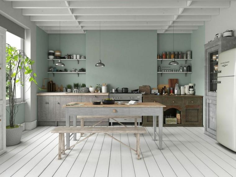 colore parete verde acqua cucina con mobili di legno tavolo da pranzo con panchina