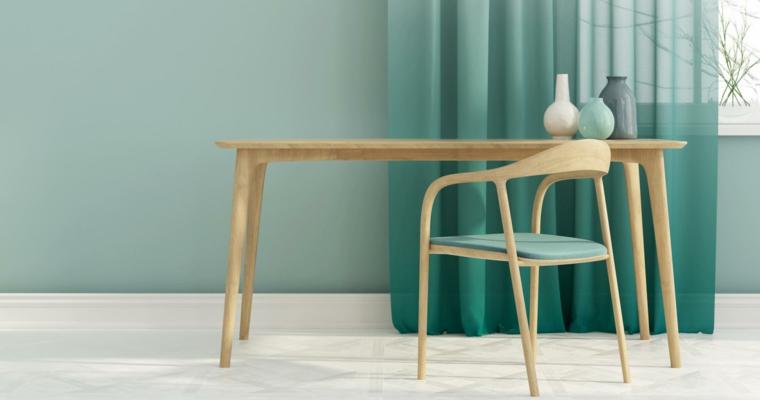 colore parete verde acqua sala da pranzo con tavolo di legno tende abbinate alle pareti