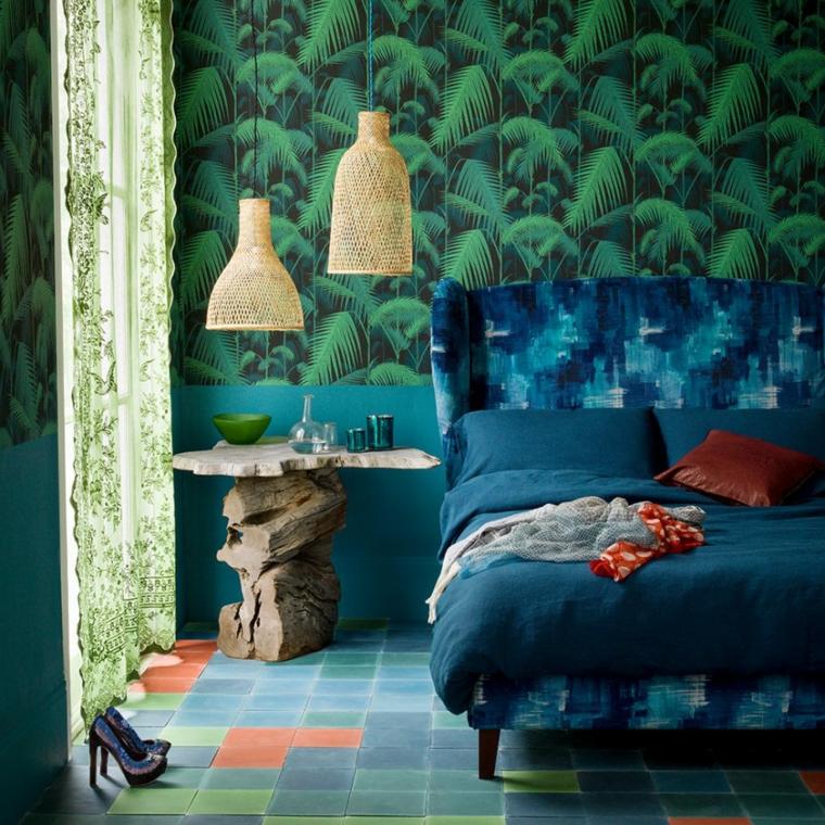 colore pareti camera da letto con mobili scuri carta da parati print tropicali