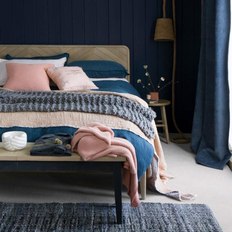 colore pareti camera da letto con mobili scuri decorazione con pannelli in legno