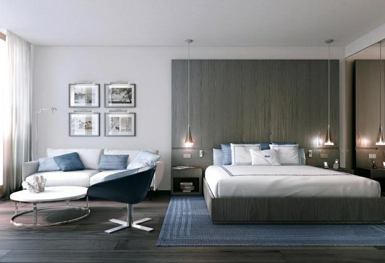 colore pareti camera da letto con mobili scuri pannello in legno con lampade sospese