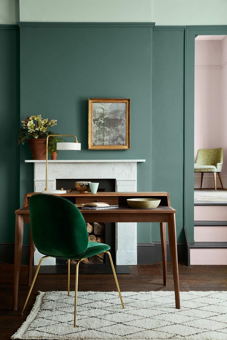 colore verde vintage tavolo di legno con sedia salotto con camino classico
