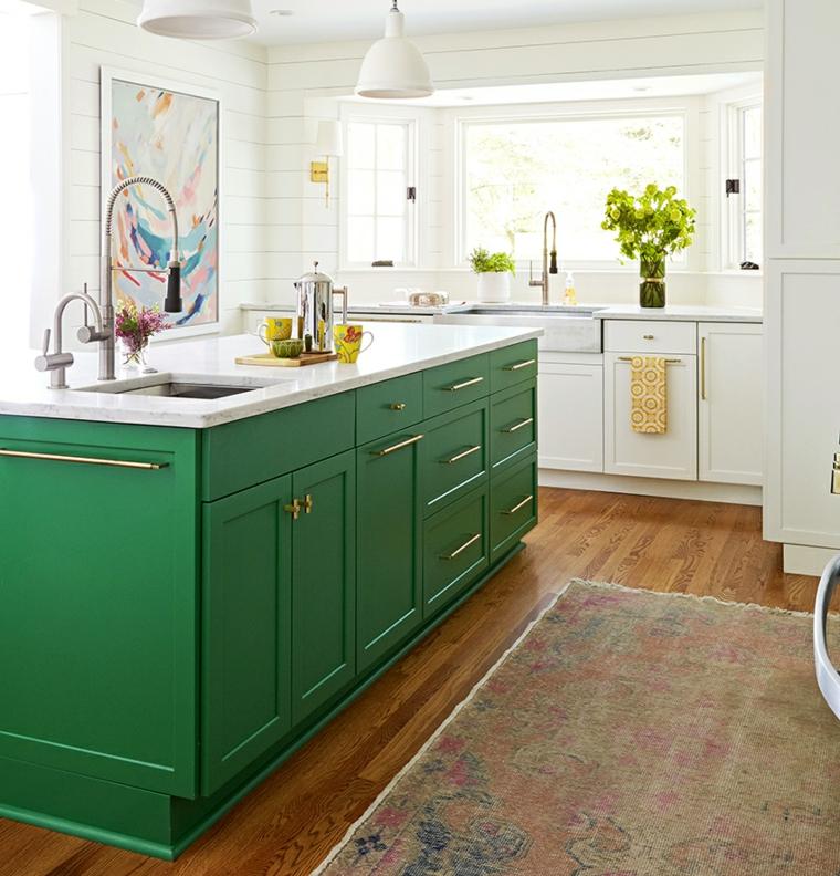 colori che si abbinano con il verde cucina con pareti bianche isola centrale con top in marmo