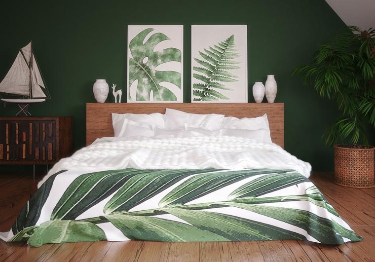 colori da abbinare al verde decorazione camera da letto con piante