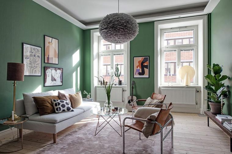colori da abbinare al verde grigio salotto stile scandinavo decorazioni con quadri e piante